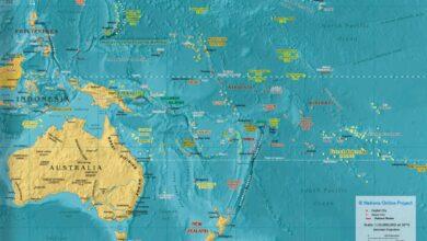 Okyanusyanın harita üzerindeki yeri.